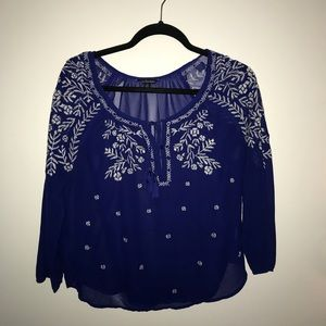 Navy Blouse with White Detailing